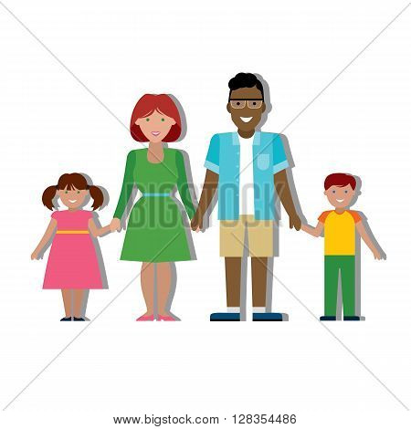 Multicultural traditional family with parents and children. Happy family. Boy and girl. African american father. Smiling family