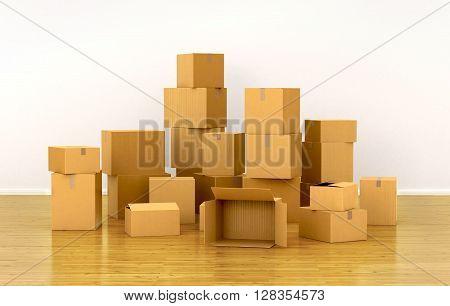 piles of cardboard boxes. 3d illustration .
