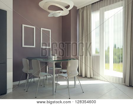 Bright dining room interior, dining table near window. 3d render
