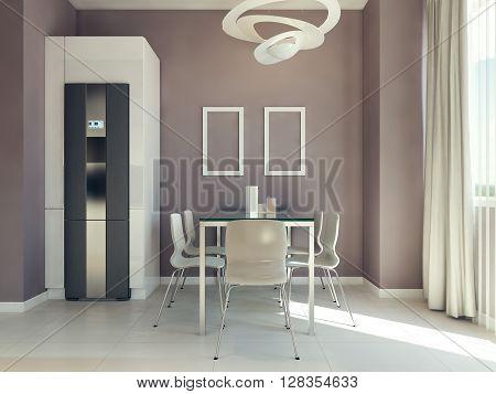 Dining room modern design, dining table on tiled floor. 3d render