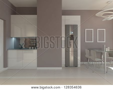 Kitchen furniture of white color in contemporary style. 3d render
