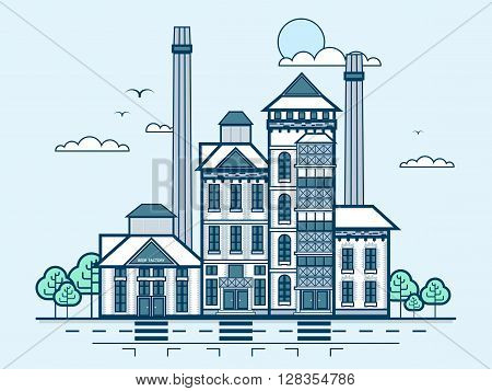 Stock vector illustration city street with brewery, modern architecture in line style element for infographic, website, icon, games, motion design