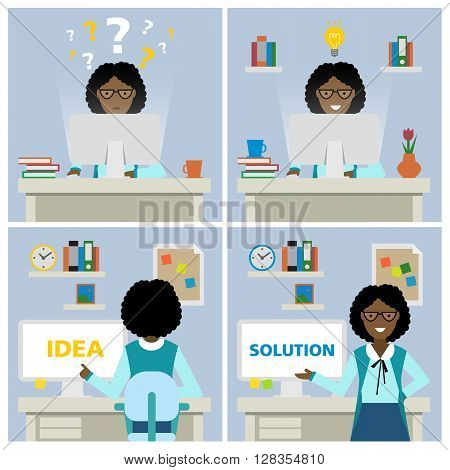 African american businesswoman at workplace with questions, idea and solution. Multitasking businesswoman. Finding a solution. Smiling and beautiful.