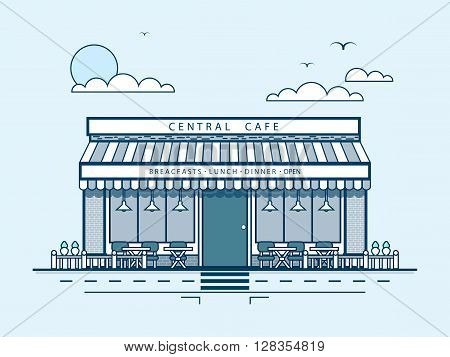 Stock vector illustration city street with central cafe, modern architecture in line style element for infographic, website, icon, games, motion design, video