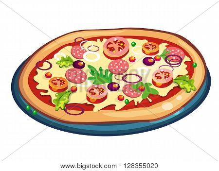 Pizza on white background. Ingredients are dough, tomatoes, mushrooms, olives and more. Fresh hot and delicious.