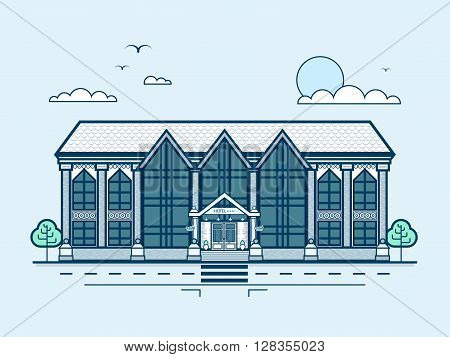Stock vector illustration city street with multi-storey hotel, modern architecture in line style element for infographic, website, icon, games, motion design, video