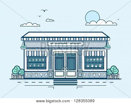 Stock vector illustration city street with ice-cream cafe, modern architecture in line style element for infographic, website, icon, games, motion design, video