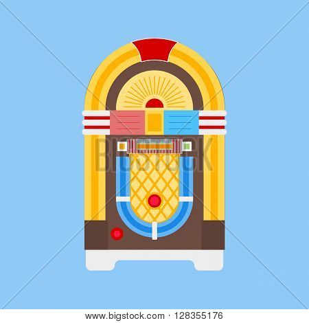 Jukebox icon vector. Flat icon isolated on the white background. Editable EPS file. Vector illustration.