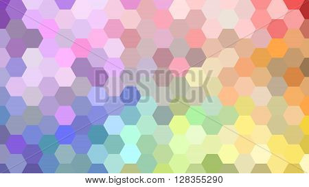 Pastel geometric hexagon pattern without contour. Rainbown colors. Polygonal shape. Seamless pattern.