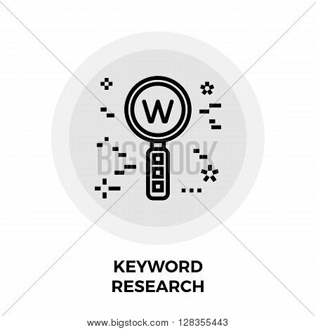 Keyword Research Icon Vector. Flat icon isolated on the white background. Editable EPS file. Vector illustration.