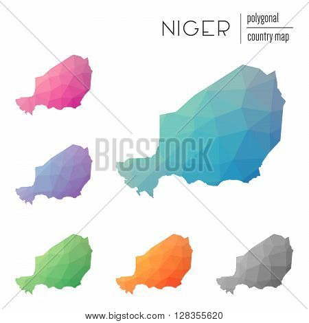 Set Of Vector Polygonal Niger Maps. Bright Gradient Map Of Country In Low Poly Style. Multicolored N