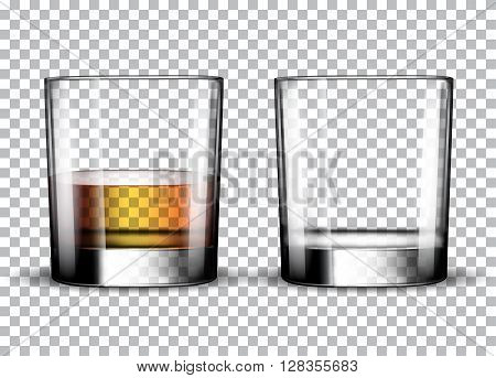 Empty whiskey glass and full whiskey glass