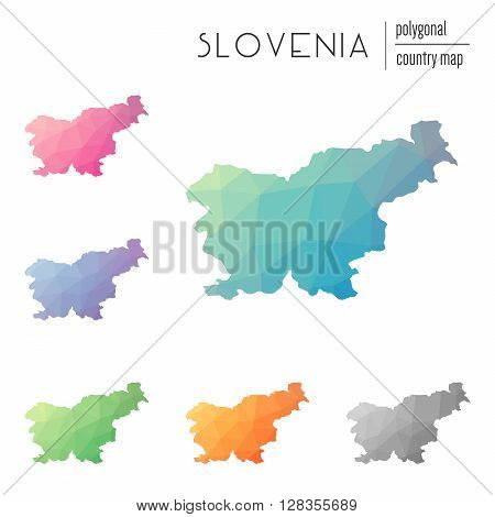 Set Of Vector Polygonal Slovenia Maps. Bright Gradient Map Of Country In Low Poly Style. Multicolore