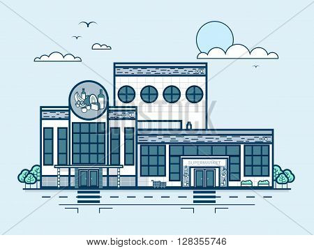 Stock vector illustration city street with supermarket, grocery store, modern architecture in line style element for infographic, website, icon, games, motion design, video