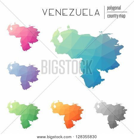 Set Of Vector Polygonal Venezuela, Bolivarian Republic Of Maps.. Bright Gradient Map Of Country In L