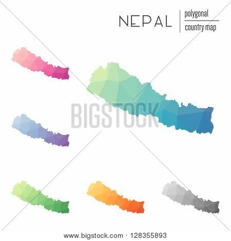 Set Of Vector Polygonal Nepal Maps. Bright Gradient Map Of Country In Low Poly Style. Multicolored N