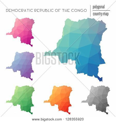 Set Of Vector Polygonal Congo, The Democratic Republic Of The Maps.. Bright Gradient Map Of Country
