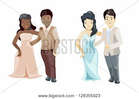 Wedding couples vector illustration. African and european Wedding couples isolated on white background.