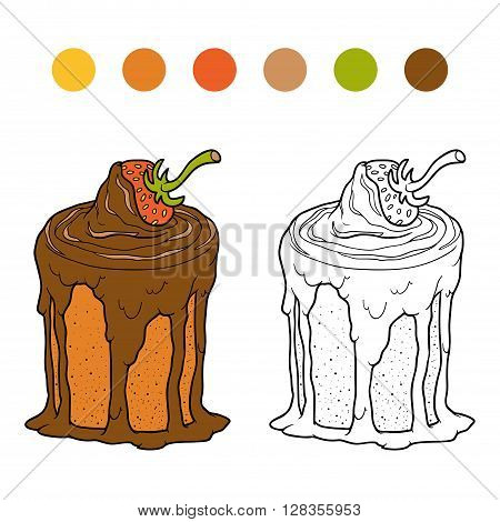 Coloring Book, Vector Chocolate Cake With Strawberry