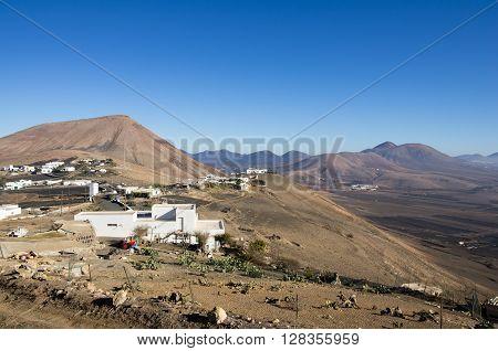Top view on village Las Casitas de Femes Canary Island Lanzarote Spain