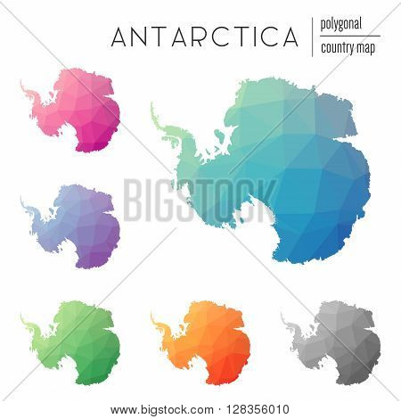 Set Of Vector Polygonal Antarctica Maps. Bright Gradient Map Of Country In Low Poly Style. Multicolo