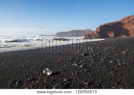Lagoon El Golfo on Lanzarote Canary islands Spain