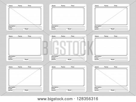 Storyboard template for film story icons. Vector illustration