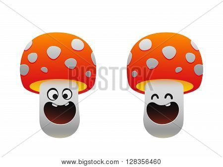 cheerful mushroom smiling two types red white