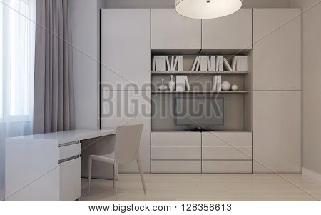 Modern living room style, wall tv system. 3d render