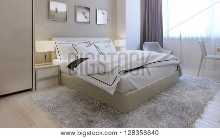 Bedroom modern style. Stylish bed, grey wool carpet, beige walls. 3d render