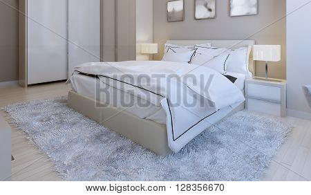 Bedroom in high-tech style, large double bed on wool carpet. 3d render
