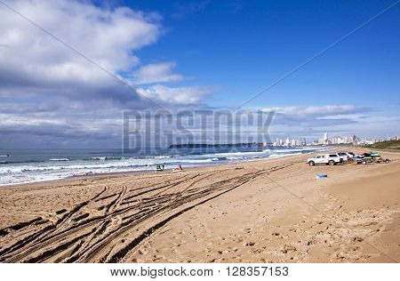 Ski Boat  Ldv's And Trailers On Beach In Durban