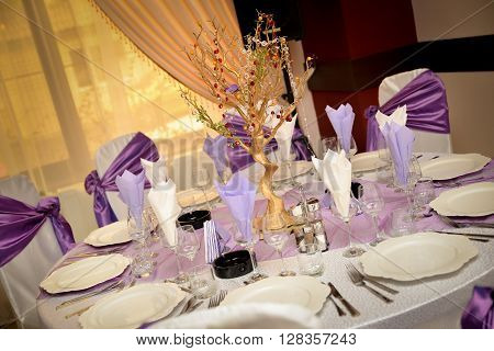 Wedding table with plate napkin cutlery on mauve color