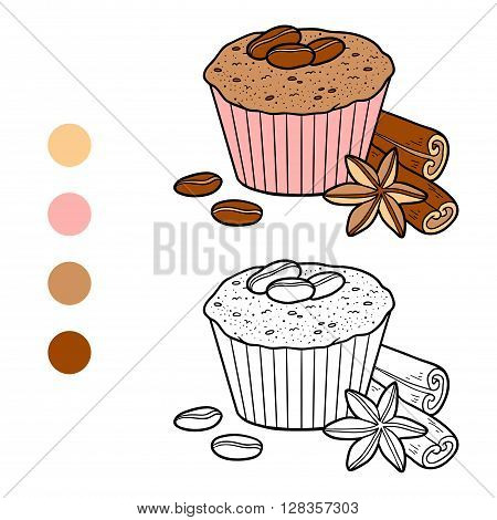 Coloring Book, Vector Cupcake With Coffee Beans