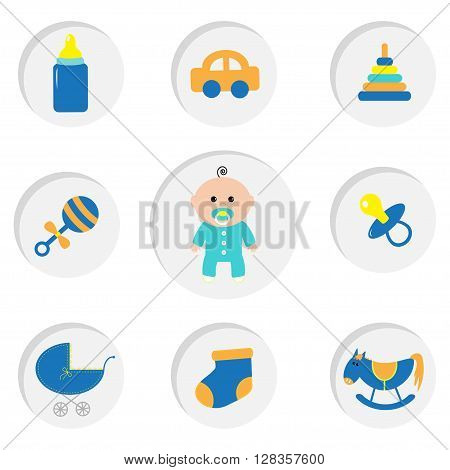 Baby boy shower card with bottle horse rattle pacifier sock car toy baby carriage pyramid. Its a boy. Round icon set. Isolated White bacground Flat design. Vector illustration
