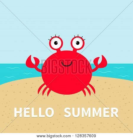 Crab on the beach. Sea ocean sky sand. Cute cartoon baby character. Sea ocean animal collection. Hello summer Greeting card. Flat design. Vector illustration