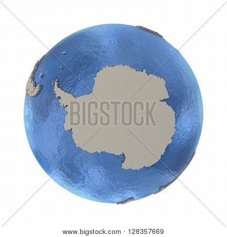 Antarctica On Model Of Planet Earth