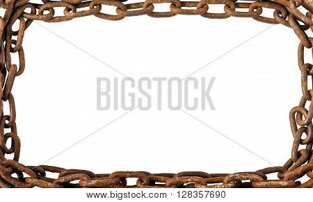 Frame Chain, Rusty Brown Old Chains Isolated on White Background