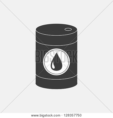 Oil barrel with oil drop sign icon. Isolated. Black sign on white background. Oil droplet. Flat design. Vector illustration