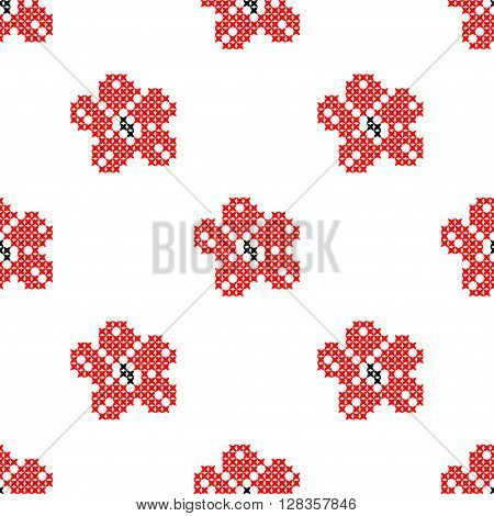 Seamless isolated texture with abstract red embroidered flowers  for cloth. Embroidery. Cross stitch.