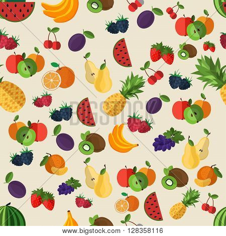 Flat fruits seamless pattern. Vector flat Illustrations of watermelon banana cherry apple strawberries raspberries blackberries orange kiwi fruit pear for web print and textile