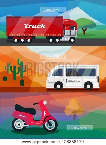 Logistics routes banners set. Business banners with truck minivan and courier moped. Low polygon vector illustrations for logistics use.