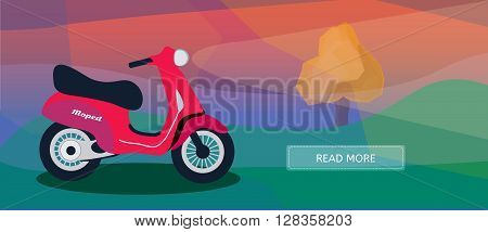 Logistic routes courier moped banner. Logistics scooter banner for industry web and print. Flat style vector illustration of a courier moped.