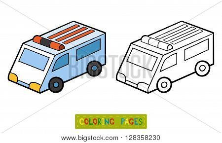 Coloring book for children coloring page. Ambulance car