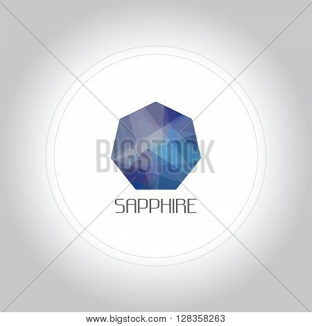 Sapphire gem logo in low lolygon style. Vector illustration for web company logo and brand design.