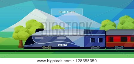 Logistic routes train banner. Logistics train banner for industry web and print. Flat style vector illustration of a train with railway carriage.