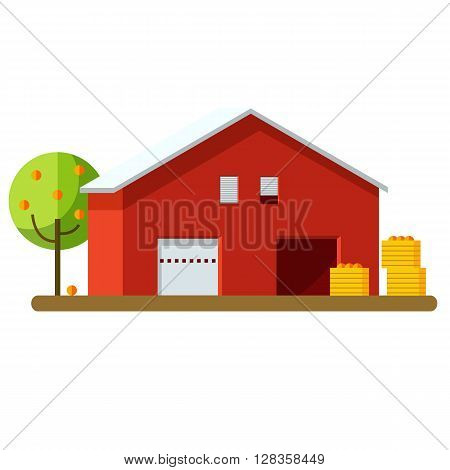 Vector illustration of harvesting and storage of crops. Harvest storage. Red storage and fruit harvest.