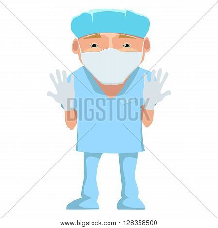Vector illustration of a surgeon in a blue uniform. Cartoon happy smiling surgeon with mask and gloves isolated. Doctor in mask and gloves . Medical cartoon person.