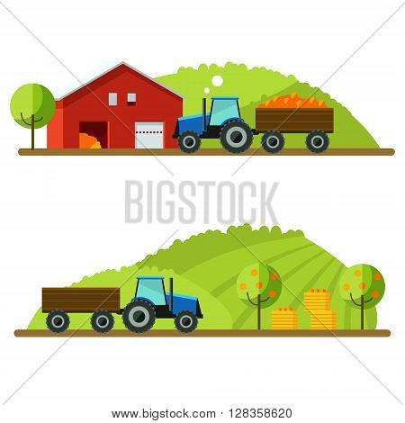 Flat design vector crop illustration. Farm rural landscape vector background. Agricultural machines .Rustic landscapes.Tractor in field crop. Life on the farm. Concept crops in field with tractor