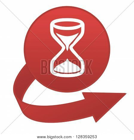 Red hourglass arrow button isolated in white background